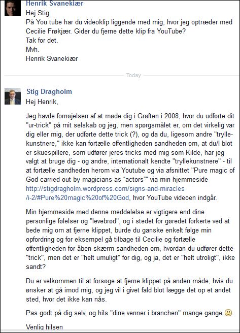 FB 271114 Henrik Svanekiær asks me to remove my YouTube clip with him