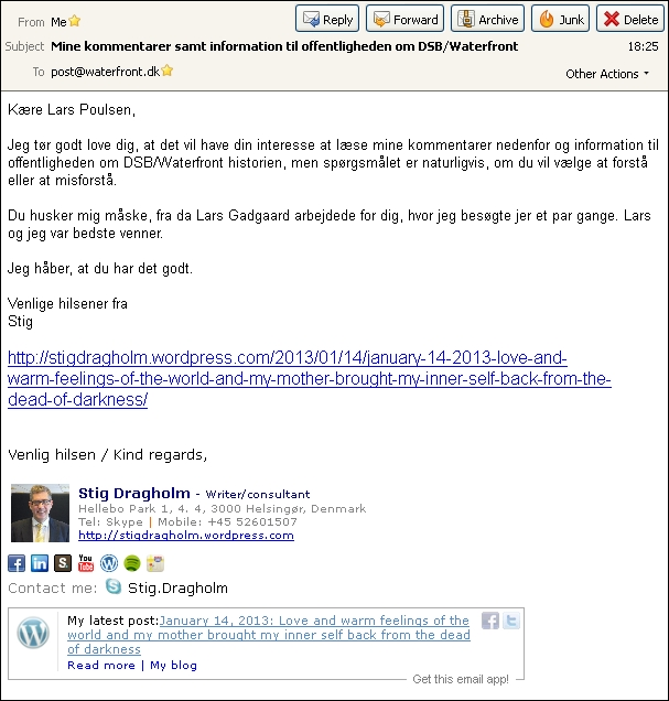 Email til Lars Poulsen Waterfront 140113