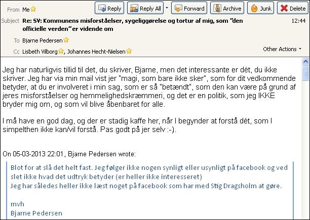 Emails fra til Bjarne