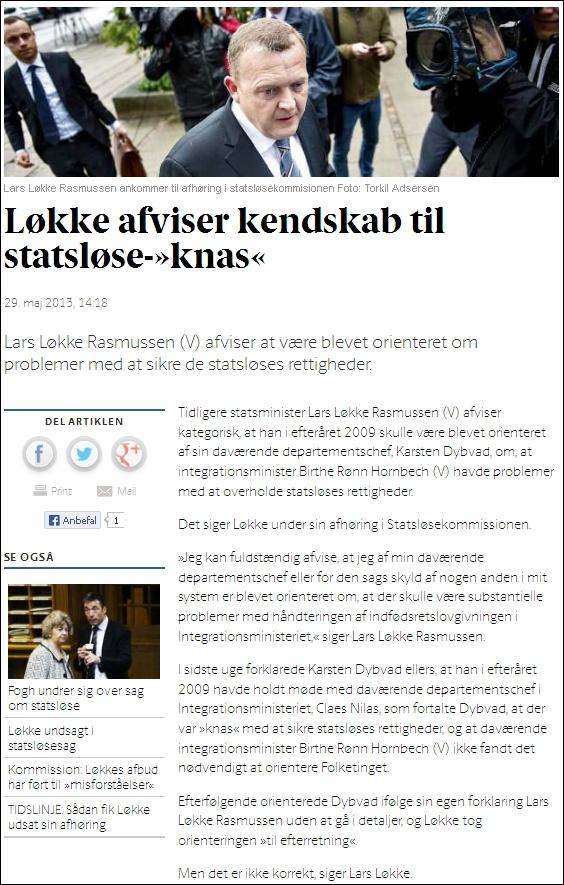 Berlingske 290513 Lars Løkke