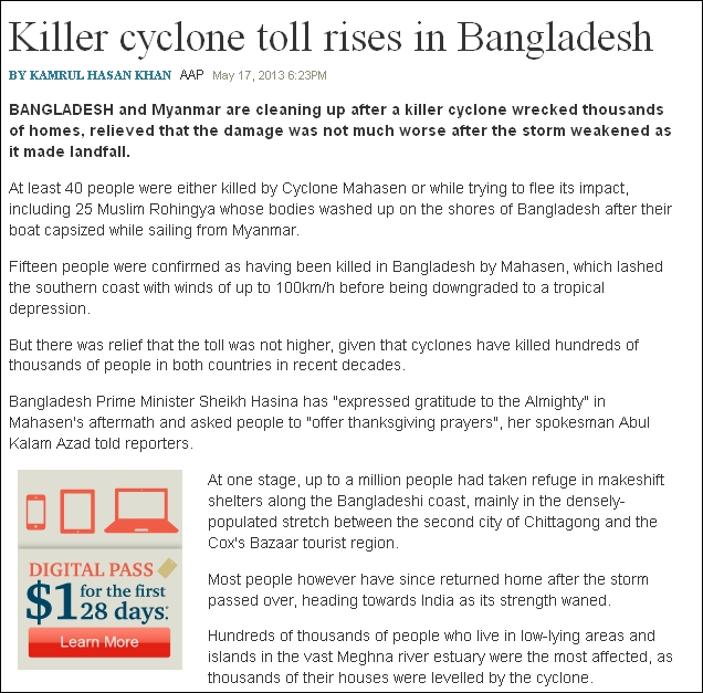 The Australian on Bangladesh cyclone