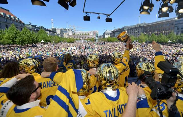 Celebration of Swedish Ice Hockey gold Kungsträdgården 200513
