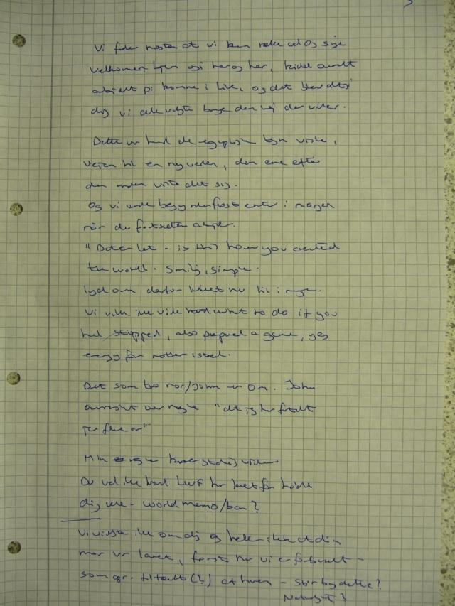 Handwritten notes 310513