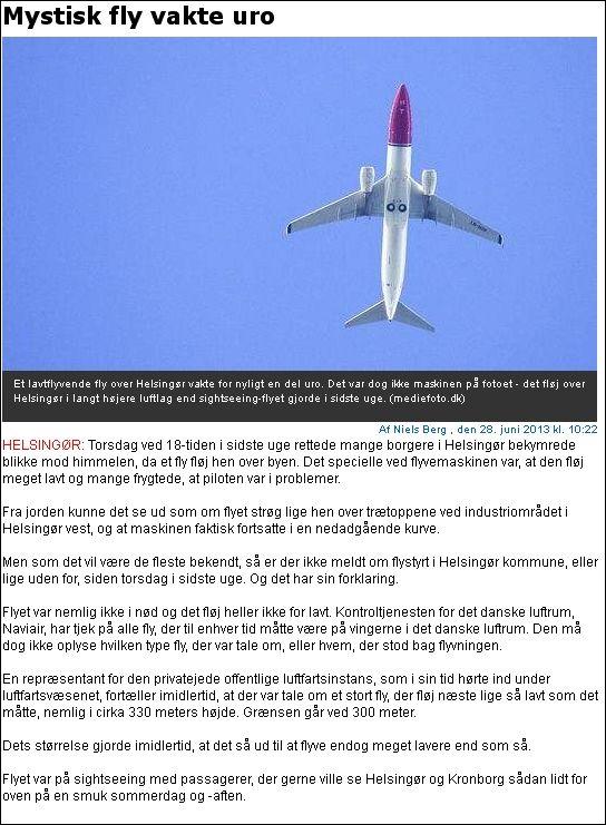Helsingør Dagblad 280613 MYSTISK FLY - løgnere!
