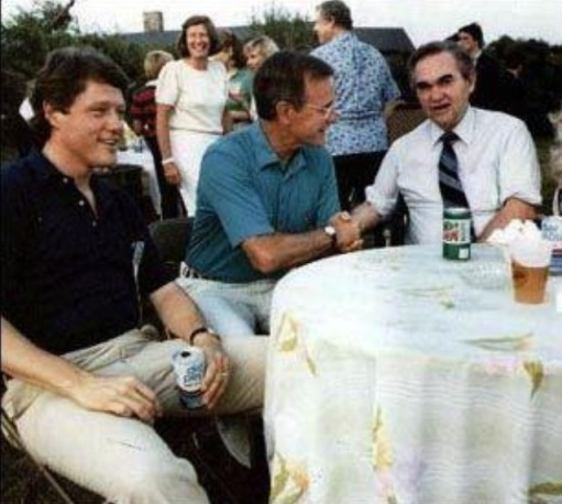 Future Presidents Bill Clinton and George HW Bush at a BBQ with Governor George Wallace, 1983
