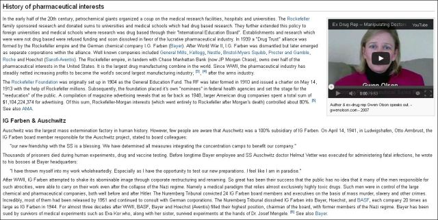 History of pharmaceutical interests