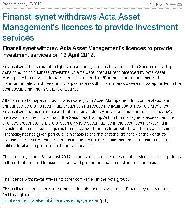 Finanstilsynet ACTA