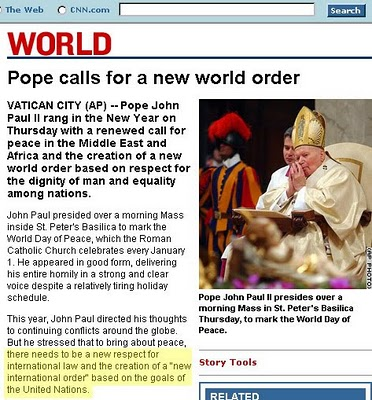 Pope John Paul 2 calls for new world order