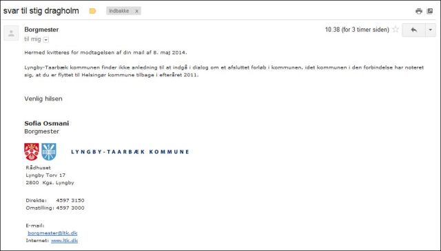 Svar fra Borgmester Lyngby-Taarbæk 150514