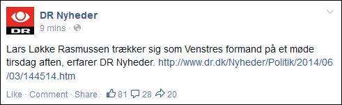 FB 030614 DR Løkke trækker sig