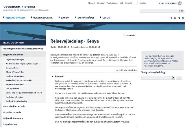 Udenrigsministeriet om Kenya 050714