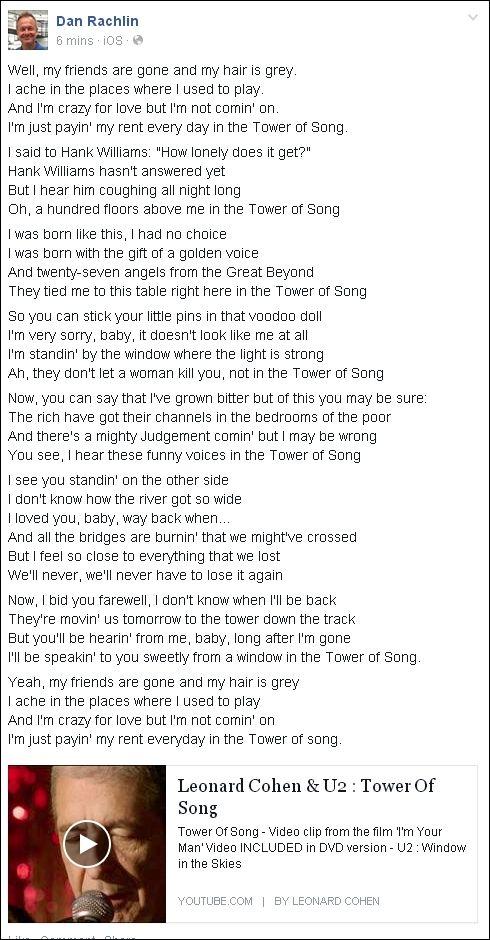 FB 200814 Dan Tower of song