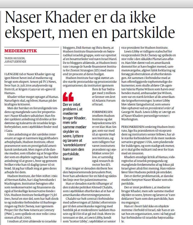 Tarek Hussein in Politiken on Naser Khader, 270714