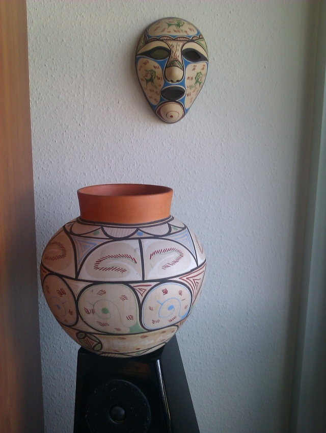 Indian mask and jar from Margarita 1996