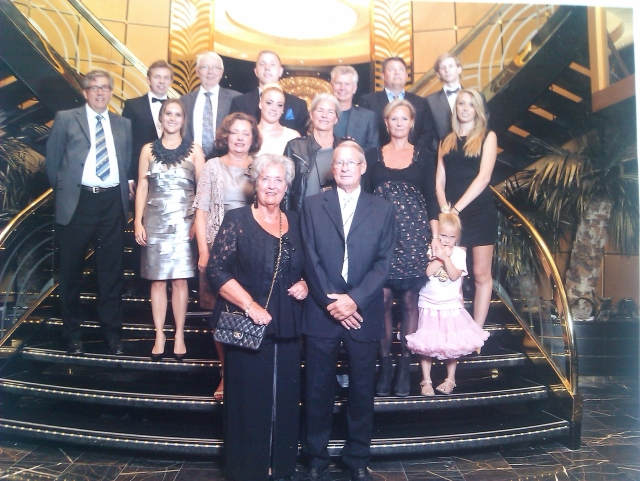 Lona and John with families onboard Magnifica 130914