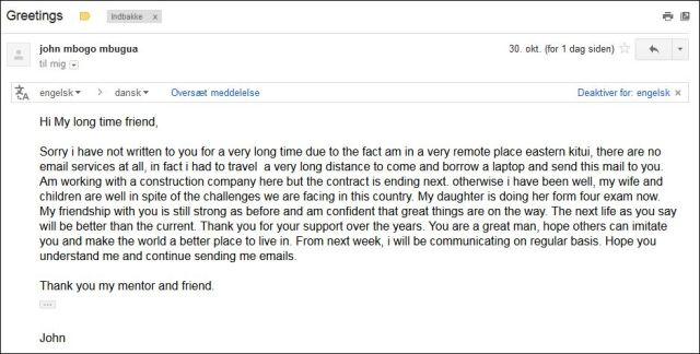 Email from John 301014