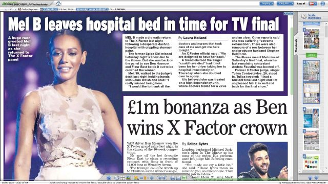 Daily Express 151214 - Mel B could have died