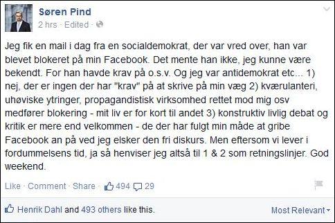 FB 280315 Søren Pind 1