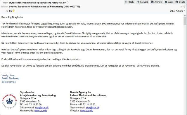 Mail fra Arbejdsmarkedsstyrelsen 120315