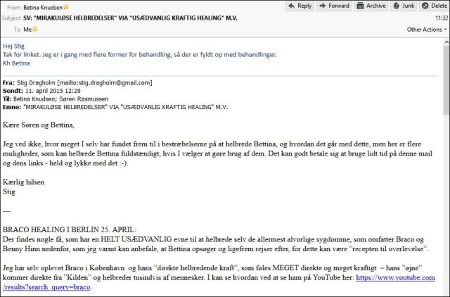 Mail til og fra Bettina 1104 og 140415