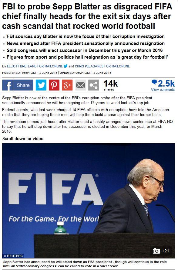 Dailymail 020615 Sepp Blatter resigns