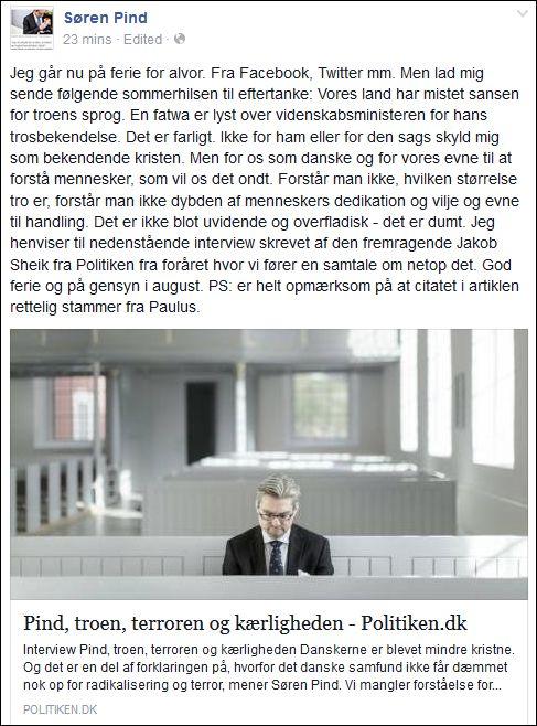 FB 050715 Pind om minister og tro