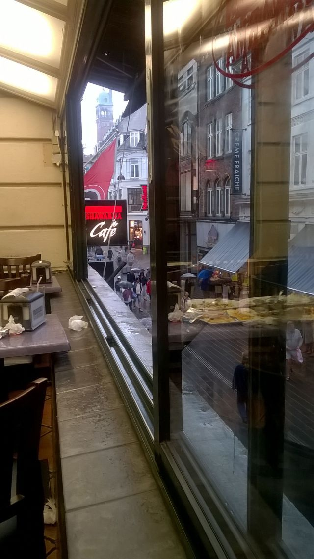 View from the Shawarma Restaurant down on Strøget