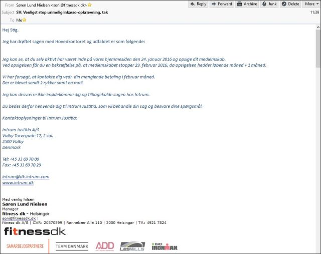 Email fra Fitnessdk 120416