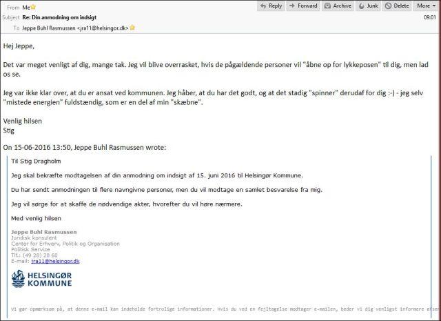 Mail fra Jeppe Helsingør Kommune 150616